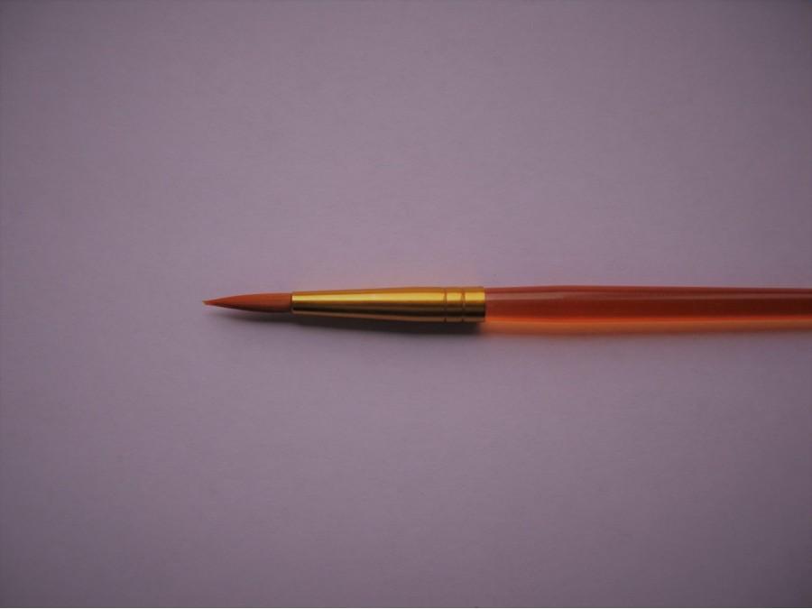 Кисть круглая № 3 прозрачная оранж ручка