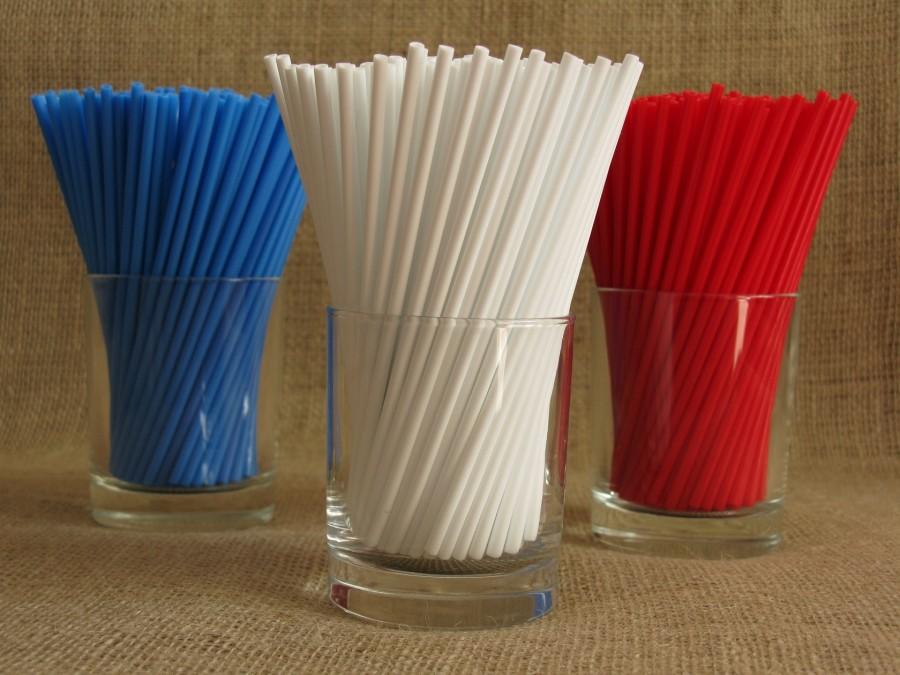 Палочки для кейк попсов Ассорти (красный, белый, синий) 50 шт