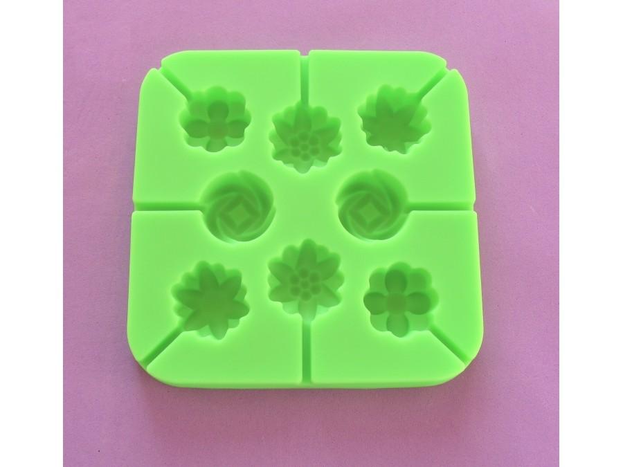 Силиконовая форма для леденцов Цветочки мини из 8 ед