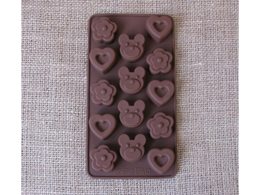 Силиконовая форма для льда, шоколада, мастики Мишки, сердечки, цветочки