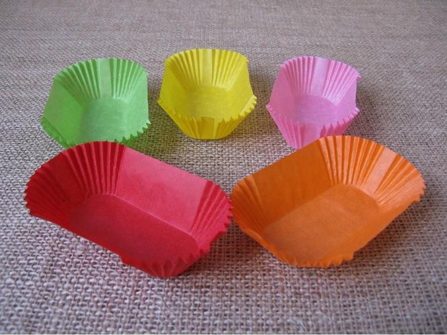 Бумажная прямоугольная форма для эклеров, пирожных , Ассорти 50 шт