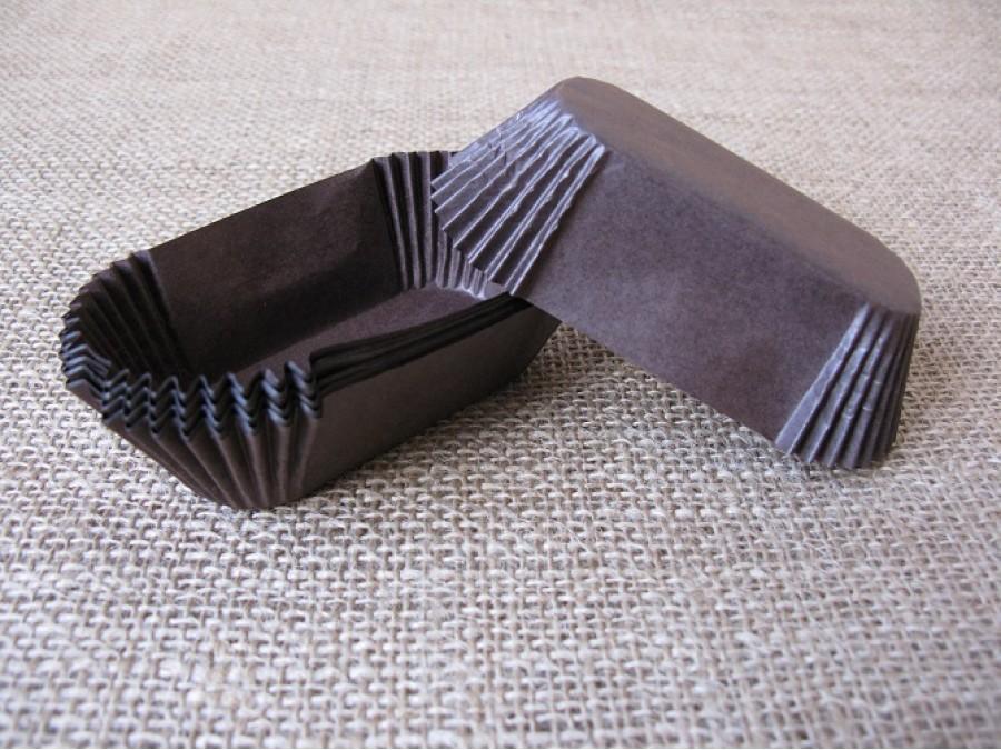Бумажная прямоугольная форма для эклеров, пирожных , Коричневые 50 шт