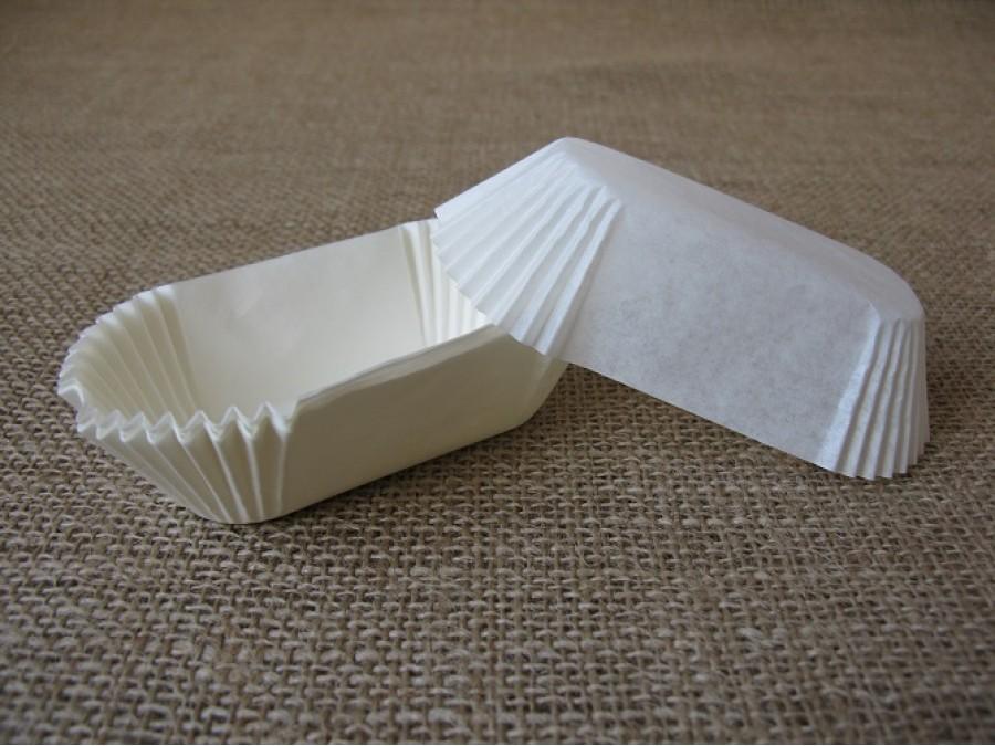 Бумажная прямоугольная форма для эклеров, пирожных , Белые 50 шт