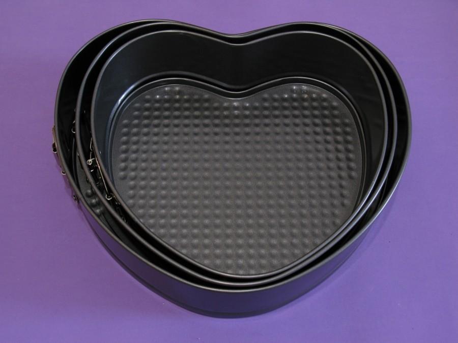 Набор разъемных форм для выпеки 3шт Сердце тефлон