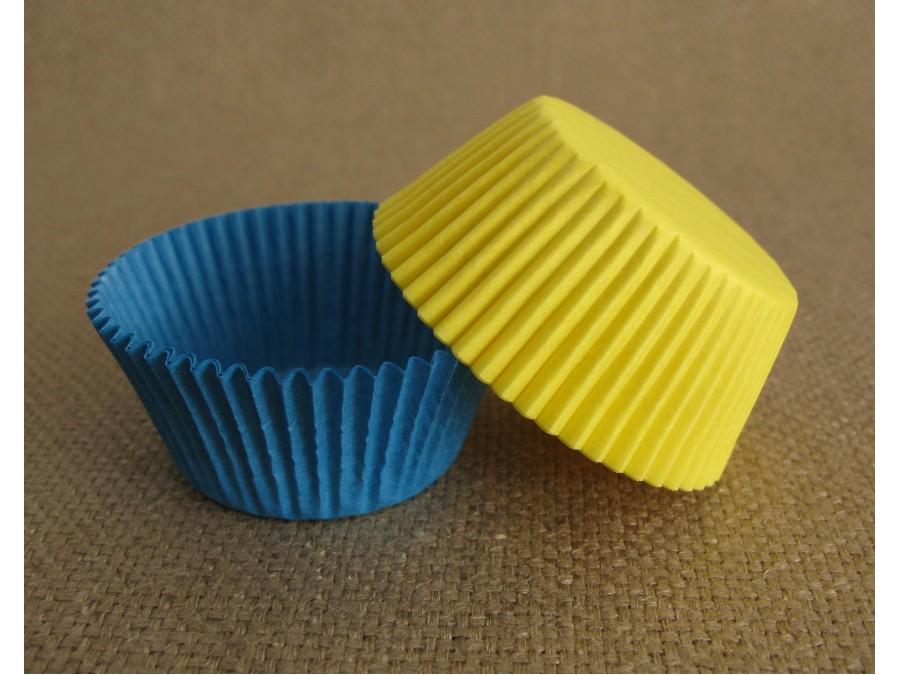 Бумажная форма для кексов 50х30 Синяя + Желтая, 50 шт