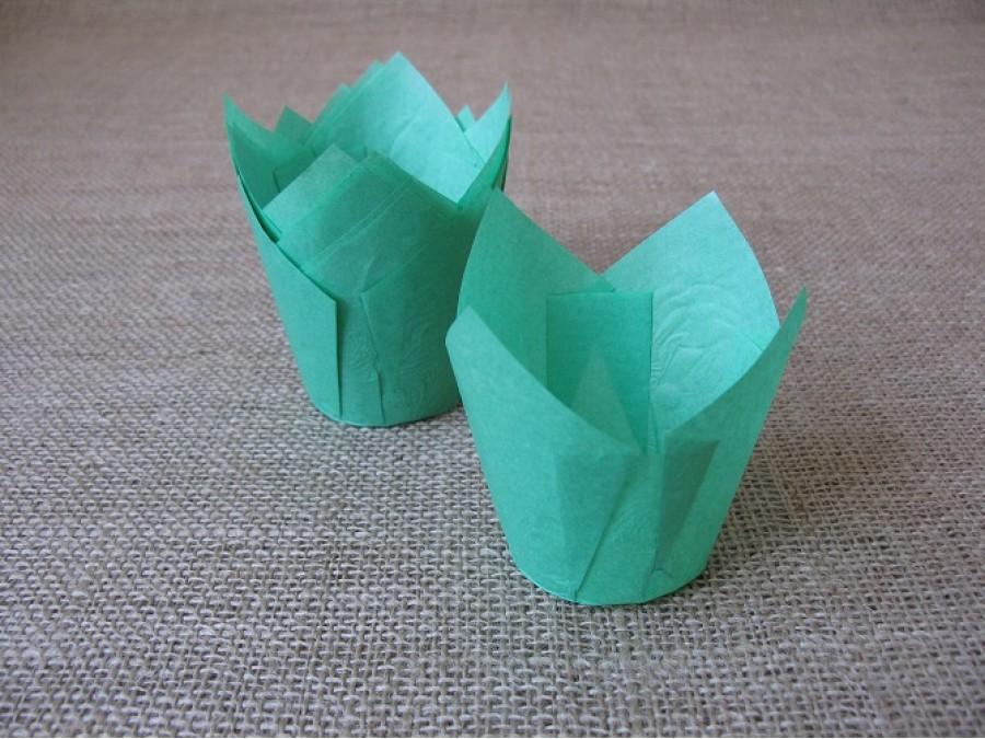 Бумажные формы для кексов ТЮЛЬПАН, 60х80 мм, Зеленый, 25 шт