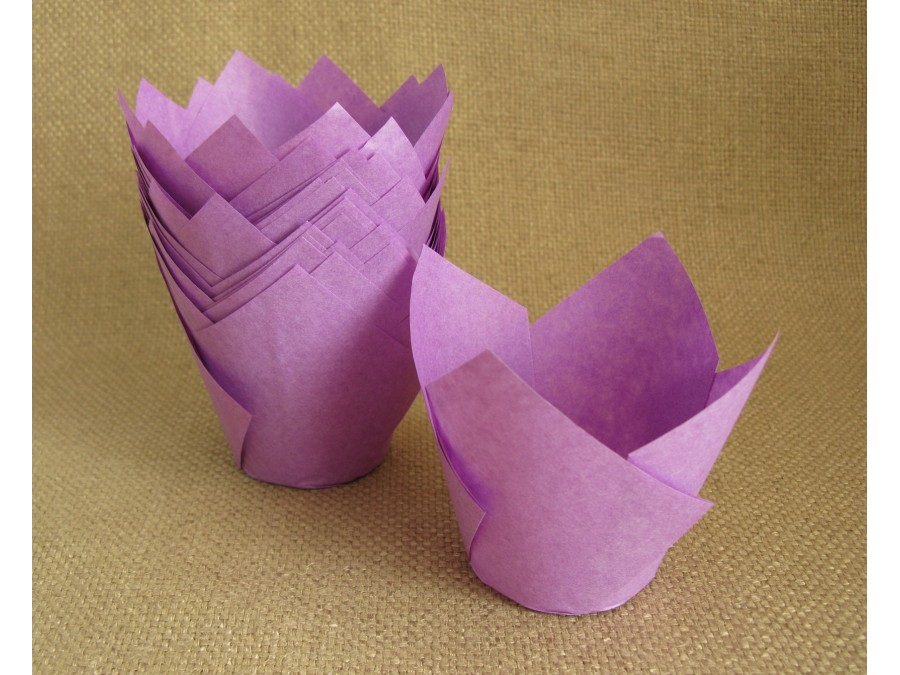 Бумажные формы для кексов ТЮЛЬПАН, 50х80 мм, Фиолетовые, 25 шт