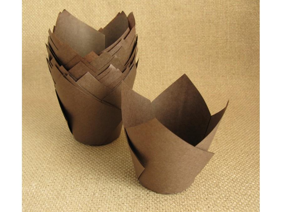 Бумажные формы для кексов ТЮЛЬПАН, 50х80 мм, Коричневые, 25 шт
