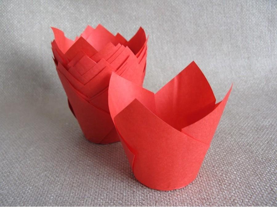 Бумажные формы для кексов ТЮЛЬПАН, 50х80 мм, Красный, 25 шт