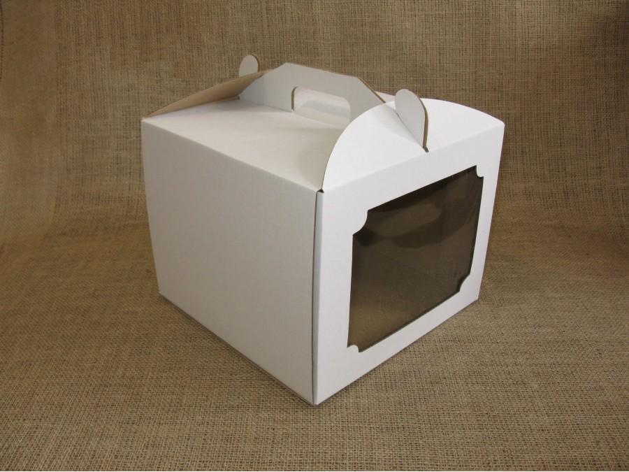Коробка для торта 25х25х20 см с окном Белая