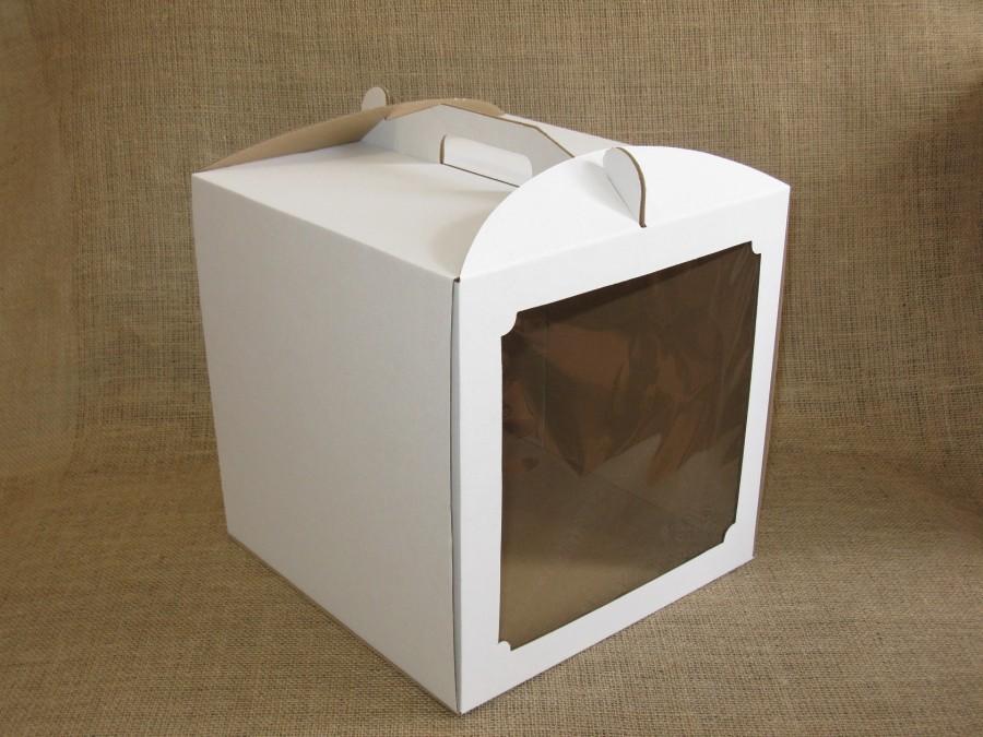 Коробка для торта 30х30х30 см Белая с окном