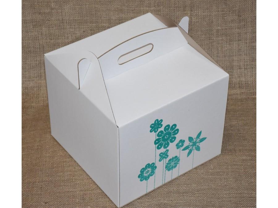 Коробка для торта 30х30х25 см Цветы