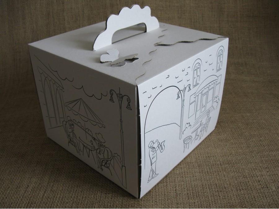 Коробка для торта 25х25х20 см Белая, Уличное кафе
