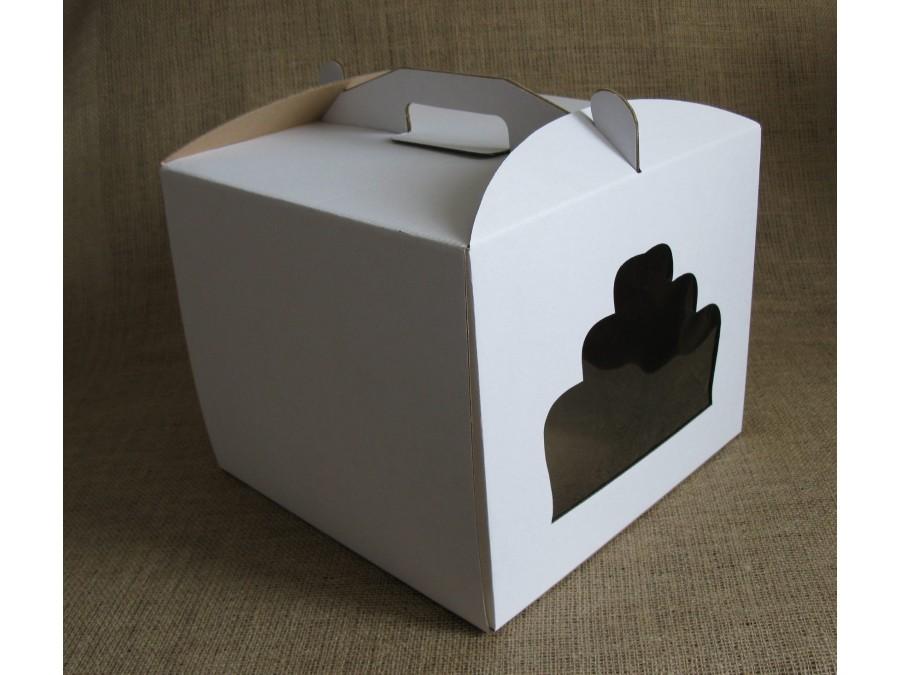 Коробка для торта 30х30х25 см Белая с окном
