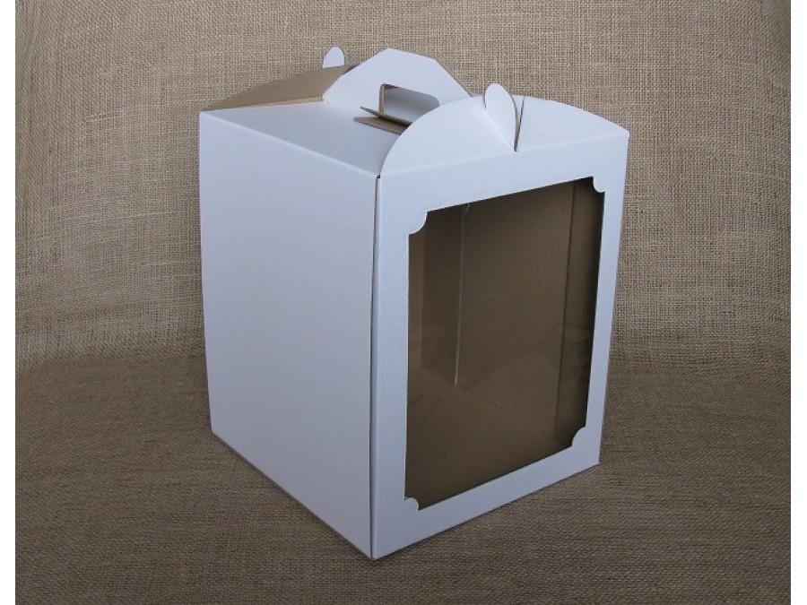 Коробка для торта 25х25х30 см с окном Белая
