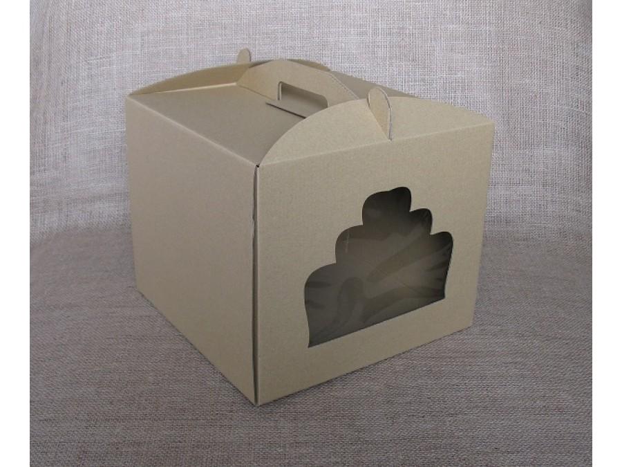 Коробка для торта 30х30х25 см с окном Крафт