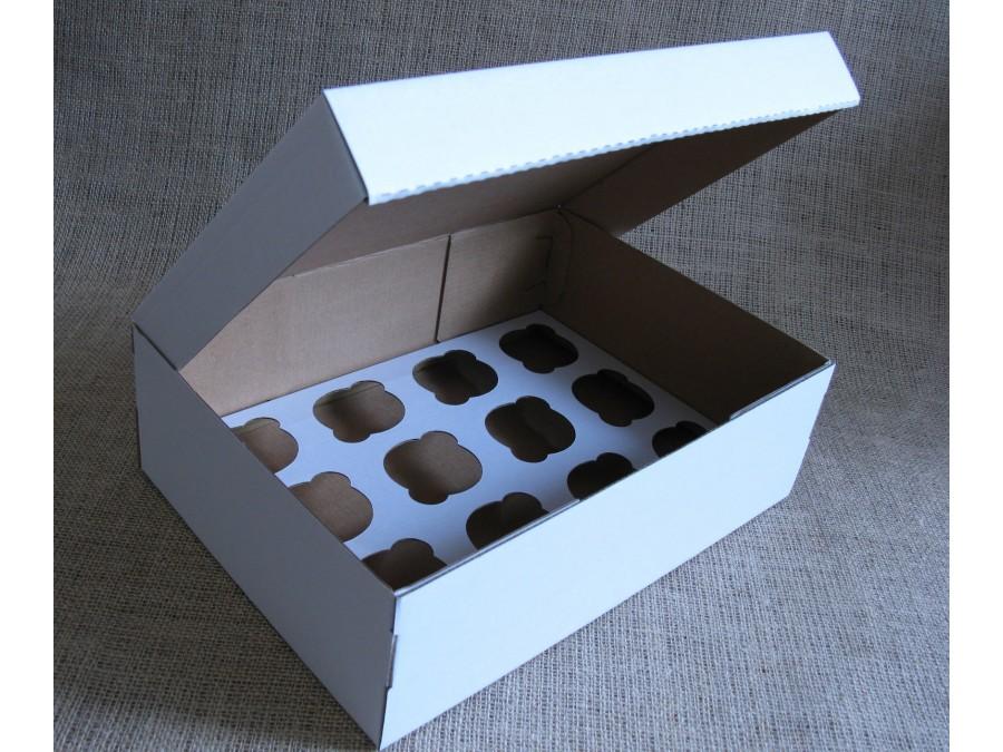 Коробка для кексов на 12 шт 35х25х11 см Белая