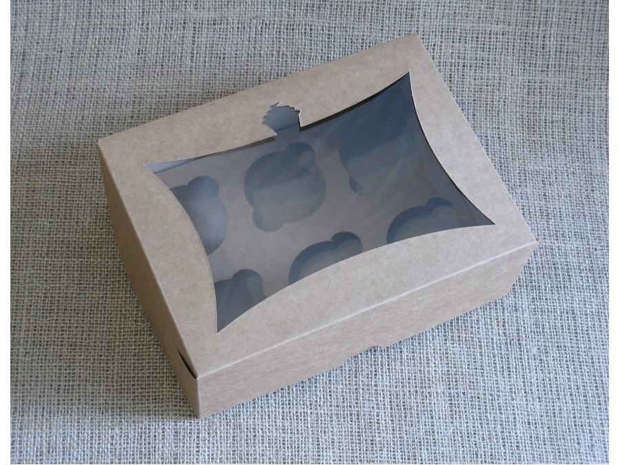 Коробка для кексов на 6 шт, 24х18х9 см Крафт с окном Кекс