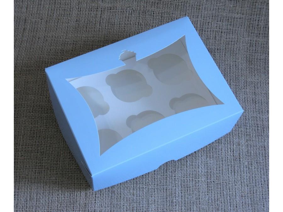 Коробка для кексов на 6 шт, 24х18х9 см Голубая с окном Кекс
