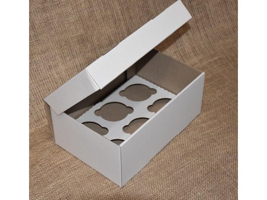 Коробка для кексов на 6 шт 25х18х9 см Белая