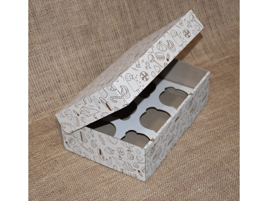 Коробка для кексов на 6 шт, 25х17х8 см Принт Сладости