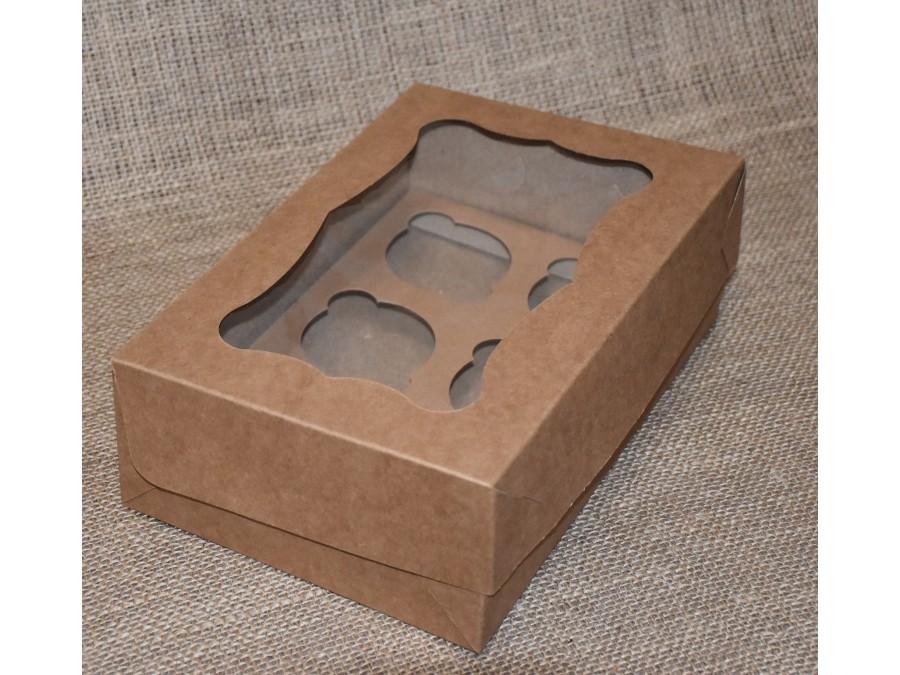 Коробка для кексов на 6 шт, 25х17х8 см Крафт с окошком