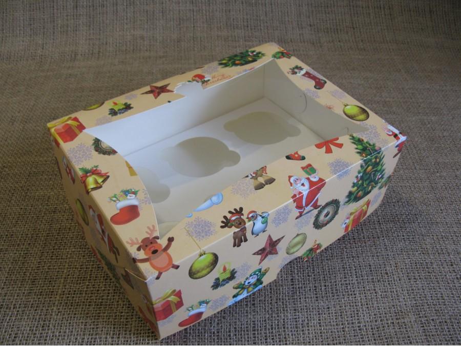 Коробка для кексов на 6 шт, 24х18х9 см, Новогодняя с окном Кекс