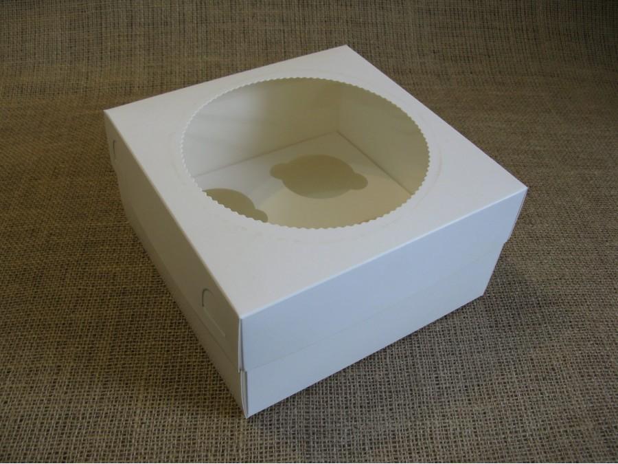 Коробка для кексов на 4 шт, 20х20х10 см Белая с окошком Круг