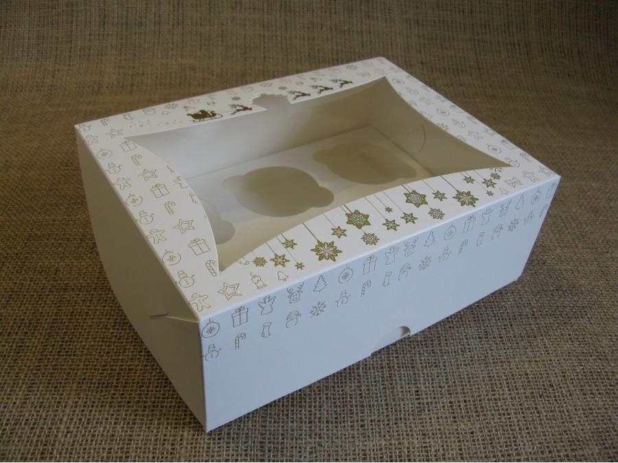 Коробка для кексов на 6 шт, 24х18х9 см Золотое тиснение Новый Год