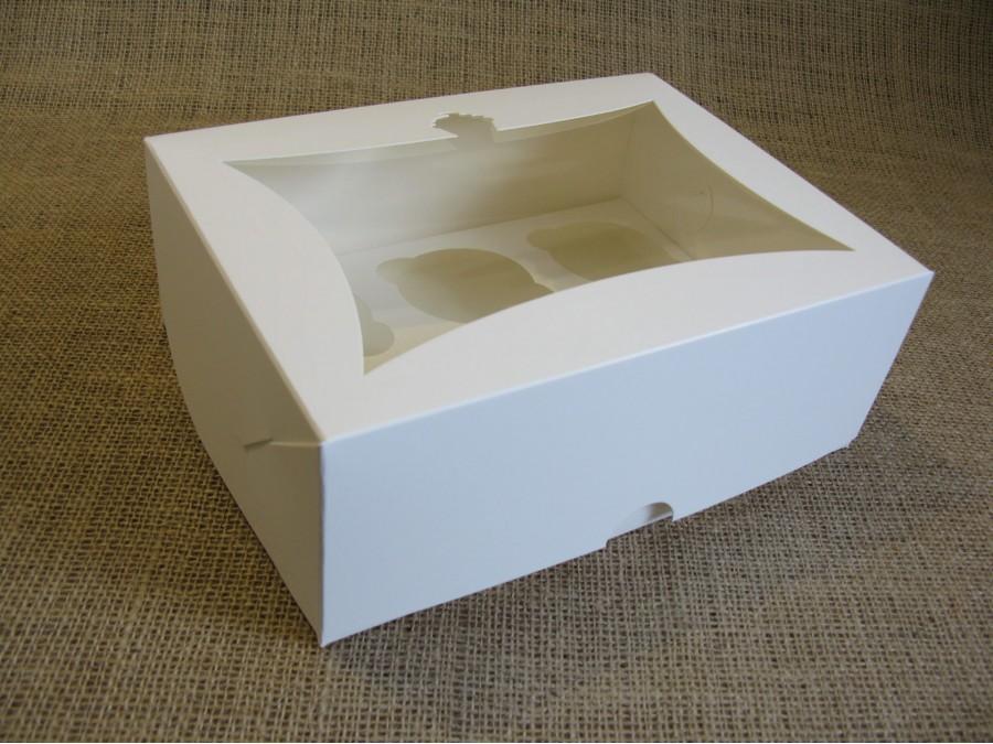 Коробка для кексов на 6 шт, 24х18х9 см Белая с окном Кекс