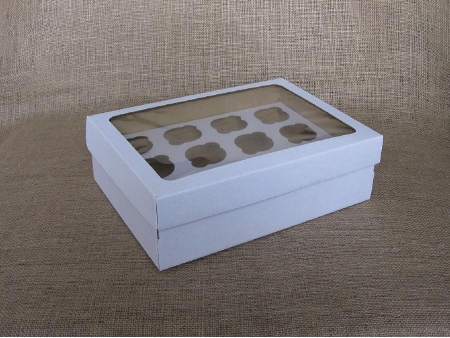 Коробка для кексов на 12 шт 35х25х11 см Белая с окном