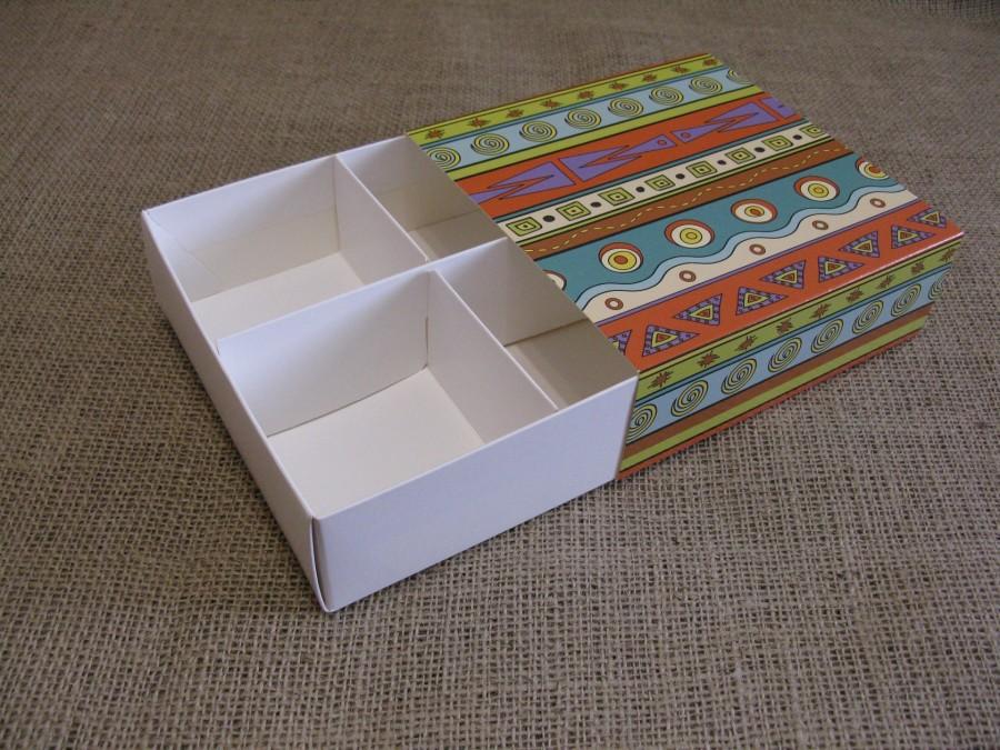 Коробка-пенал со вставкой на 4шт, 16х16х5,5см Этно