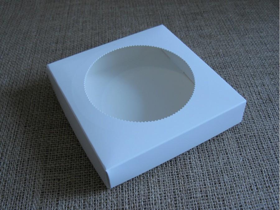 Коробка для пряников/печенья 15х15х3 см, Белая окно Круг, крышка+дно
