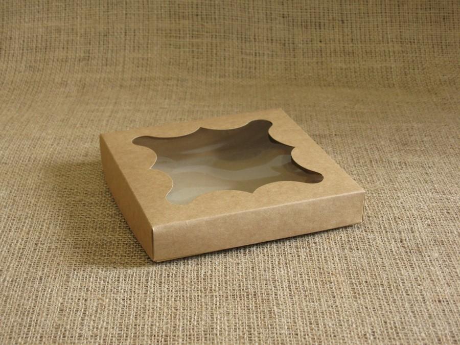 Коробка для пряников/печенья 15,5х15,5х3 см  Крафт фигурное окошко, крышка+дно