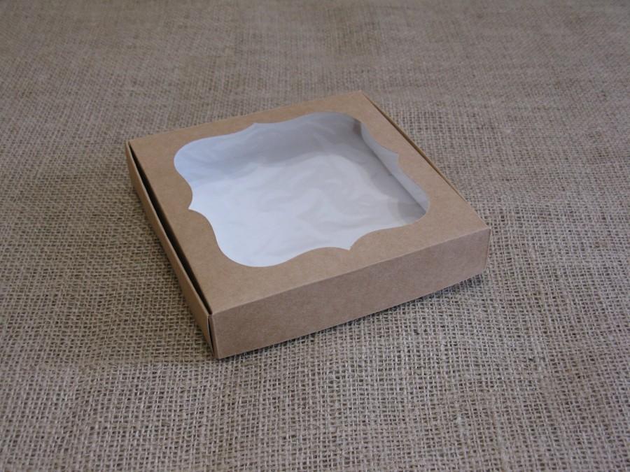 Коробка для пряников/печенья 15х15х3 см Крафт окно