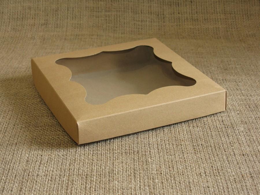 Коробка для пряников/печенья, 20х20х3 см Крафт фигурное окошко, крышка+дно