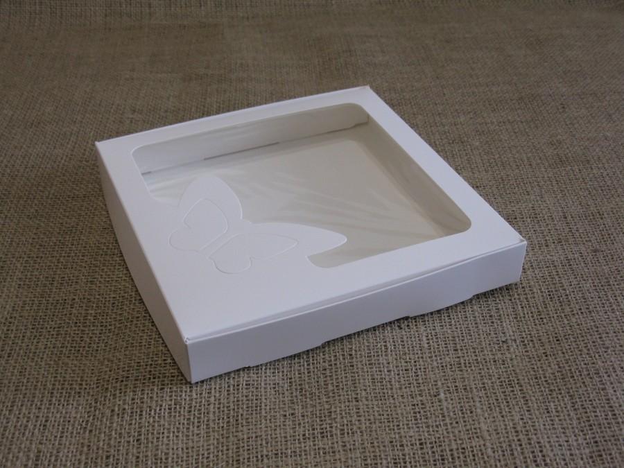 Коробка для пряников/печенья, 20х20х3 см Белая окно Бабочка