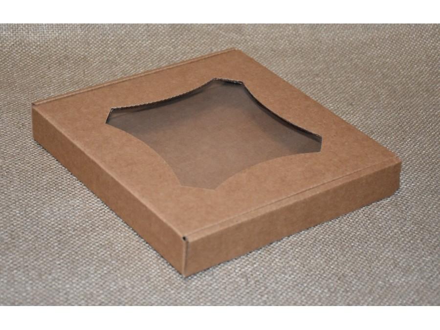 Коробка для пряников/печенья, 20х20х3 см  Крафт  фигурное окошко