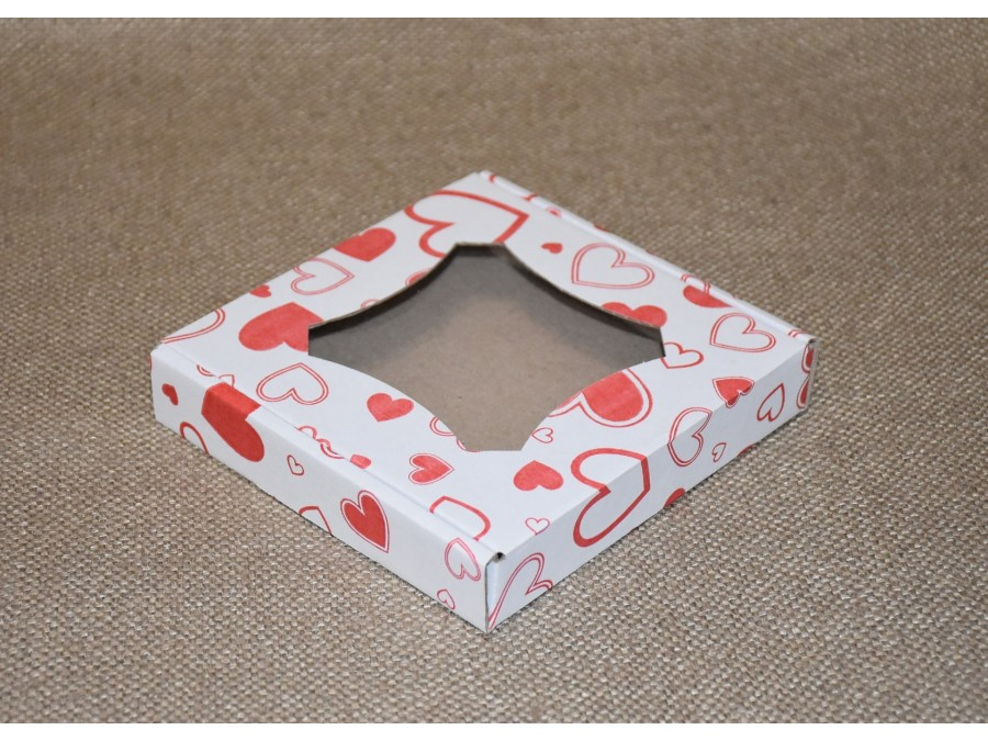 Коробка для пряников/печенья, 15х15х3 см Окно, Принт - Сердца