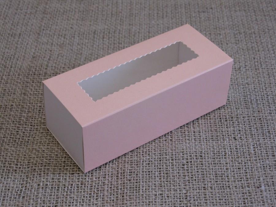 Коробка для макаронс 14х5,5х4,5см  Персиковая