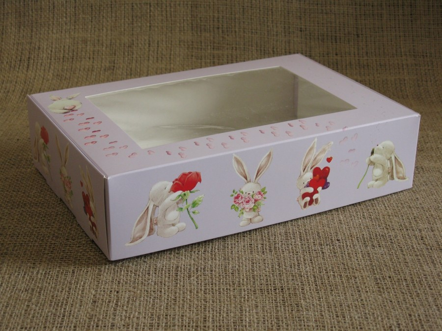 Коробка для зефира, эклеров, 26,5х18х6,5см, с окном, Зайчики