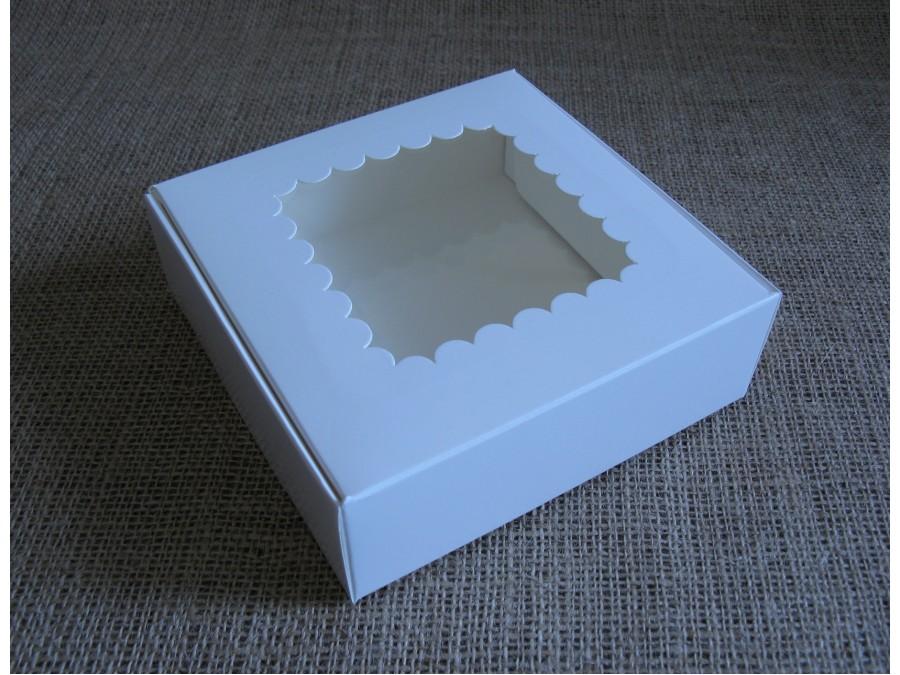 Коробка для зефира, эклеров, 15х15х5см окно, Белая