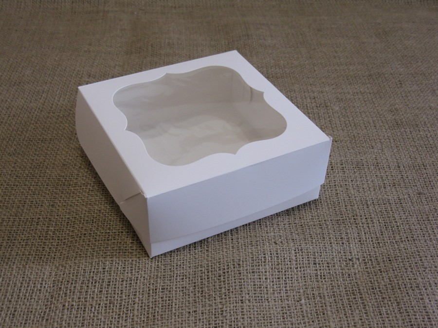 Коробка для зефира, эклеров 15х15х6см окно, Белая
