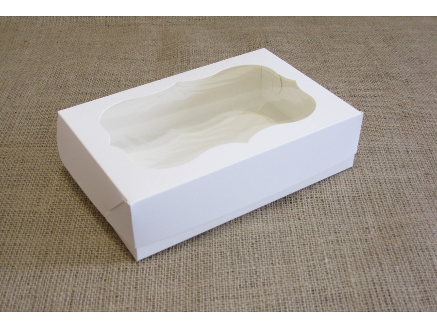 Коробка для зефира, эклеров, 23х15х6см, окно, Белая