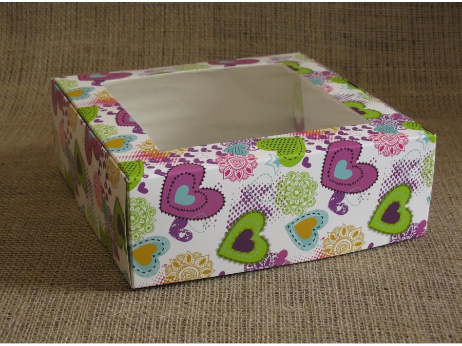 Коробка для зефира, эклеров, 20х20х7см, с окном, Сердца