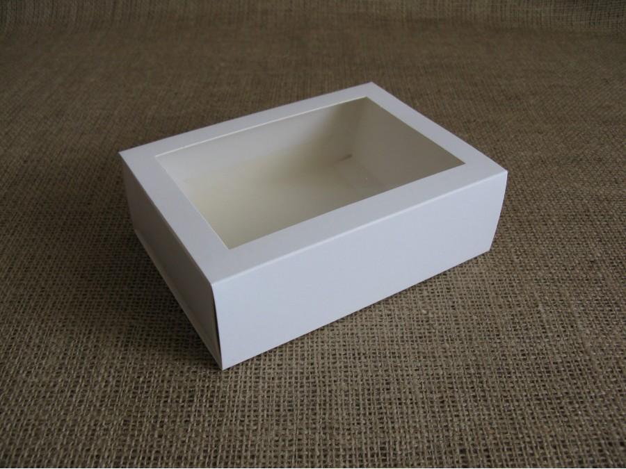 Коробка для макаронс на 12шт 11,5х15,5х5см  Белая с окном