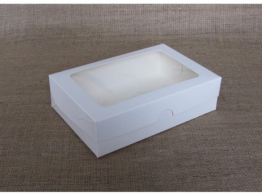 Коробка для зефира, эклеров 22,5х15х6см окно, Белая