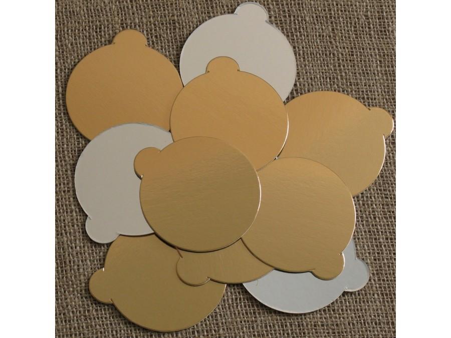 Подложка круглая с держателем Золото/Серебро d 8 см