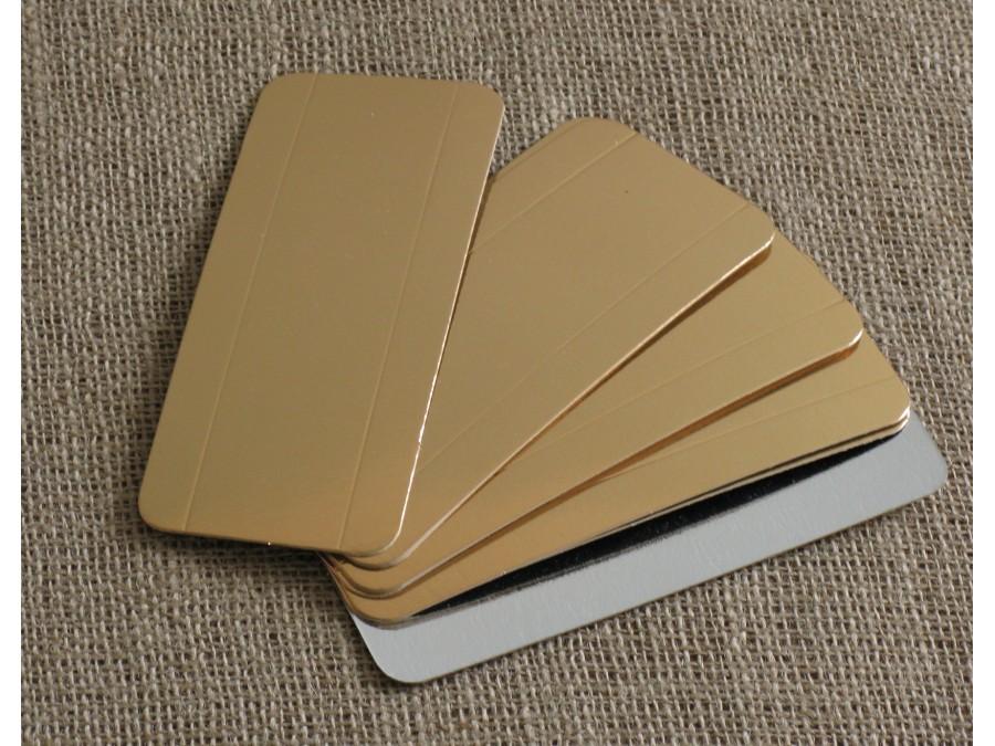 Подложка прямоугольная с бигом Золото/Серебро 7х16 см