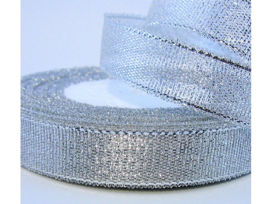Лента парча Серебро 1,2 см х 20 м